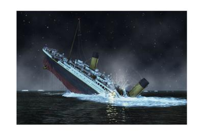 The Bow of the Titanic Plunges into the North Atlantic Ocean by Raymond Wong