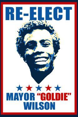 Re-Elect Mayor Goldie Wilson Plastic Sign