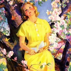 """""""Reading Among the Blossoms,""""May 1, 1936"""