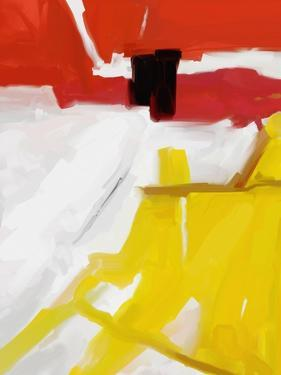 Large White, Yellow and Red Abstract by Real Callahan