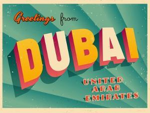 Vintage Touristic Greeting Card - Dubai, United Arab Emirates by Real Callahan