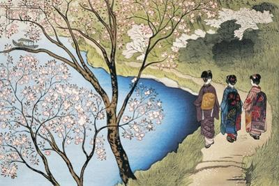 Rear View of Three Girls Walking on a Trail at Lakeside, Arashiyama, Kyoto Prefecture, Japan