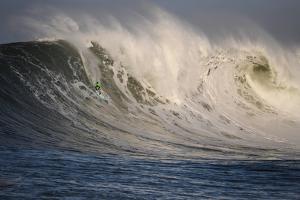 Surfer In Santa Cruz, California by Rebecca Gaal