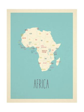 Blue Africa Map by Rebecca Lane