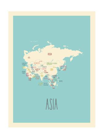 Blue Asia Map by Rebecca Lane
