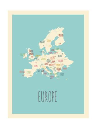 Blue Europe Map by Rebecca Lane