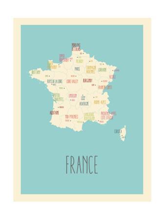 Blue France Map by Rebecca Lane