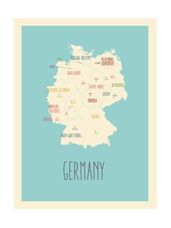 Blue Germany Map by Rebecca Lane