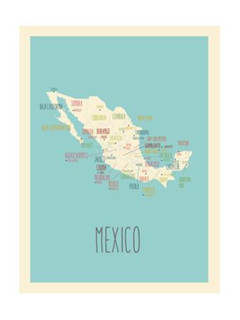 Blue Mexico Map by Rebecca Lane