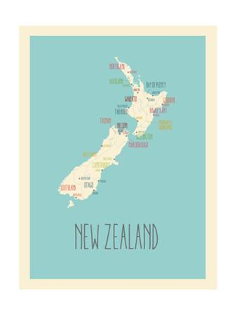Blue New Zealand Map by Rebecca Lane