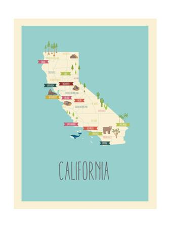 California Blue Map by Rebecca Lane