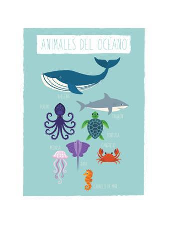 Ocean Animal Print In Spanish by Rebecca Lane