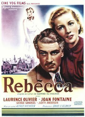 Rebecca, Laurence Olivier, Joan Fontaine on Belgian Poster Art, 1940
