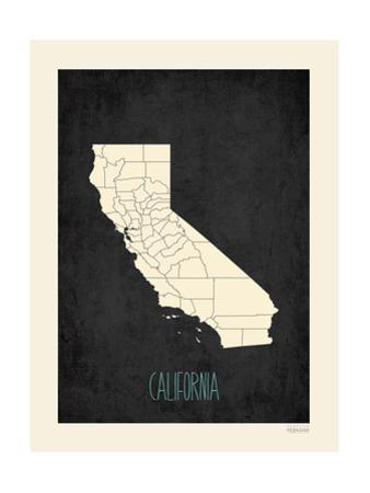 Black Map California by Rebecca Peragine
