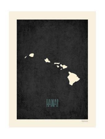 Black Map Hawaii