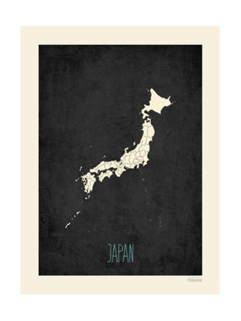 Black Map Japan by Rebecca Peragine