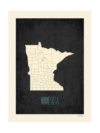 Black Map Minnesota by Rebecca Peragine