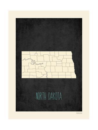 Black Map North Dakota