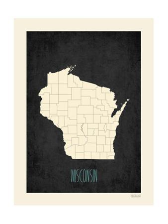 Black Map Wisconsin