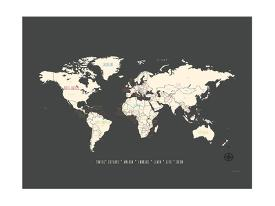 Affordable world maps posters for sale at allposters black map world by rebecca peragine gumiabroncs Gallery
