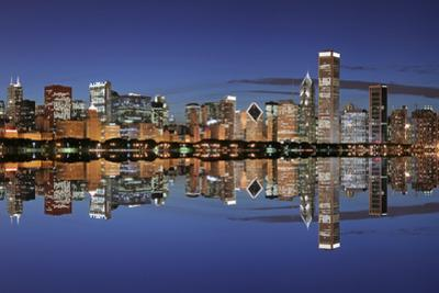 Chicago Skyline and Reflection at Night by rebelml