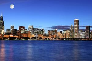Chicago Skyline under the Moonlight by rebelml