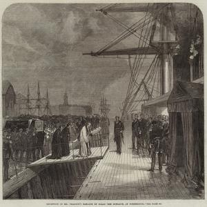 Reception of Mr Peabody's Remains on Board the Monarch, at Portsmouth