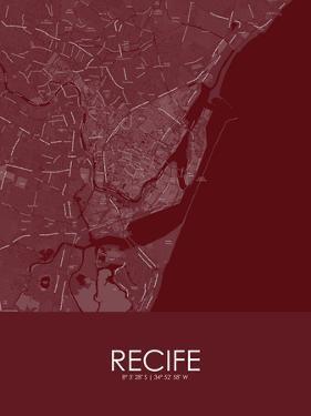 Recife, Brazil Red Map
