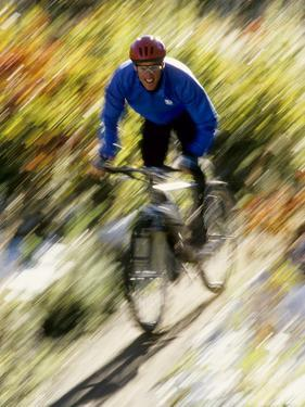 Recreational Mountain Biker Riding on the Trails