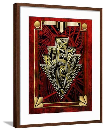 Red Chevron-Art Deco Designs-Framed Giclee Print