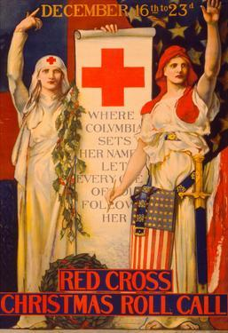 Red Cross Christmas Roll Call Vintage Ad Poster Print