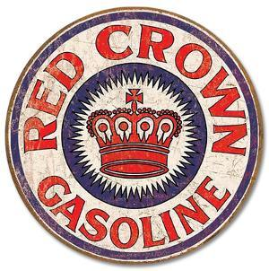 Red Crown Gas Distressed Round Tin Sign