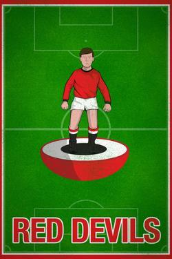Red Devils Football Soccer Sports Poster