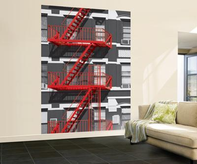 Red Fire Escape Wall Mural