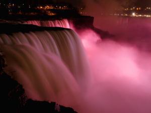 Red Lights Illuminate the American Falls in Niagara Falls, New York