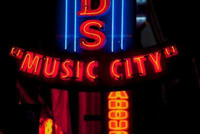 "Red Neon Sign Nashville Crossroads, ""Music City"", Lower Broadway Area, Nashville, Tennessee, USA"