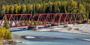 Red Rod Iron Railroad Bridge traverses Alaskan river, Alaska
