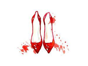 Red Watercolor Shoes