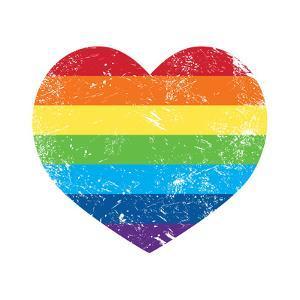 Gay Rights Rainbow Retro Heart Flag by RedKoala