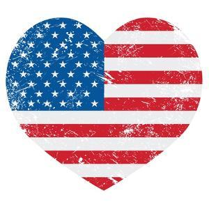 United States On America Retro Heart Flag by RedKoala