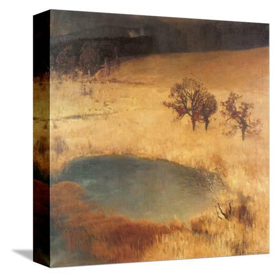 Reed Bed Pond-Eugen Bracht-Stretched Canvas