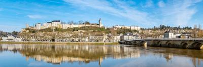 Reflection of a castle on water, Chateau De Chinon, Vienne River, Chinon, Indre-et-Loire, France