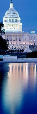 Reflection of a Government Building in Water at Dusk, Capitol Building, Washington Dc, USA