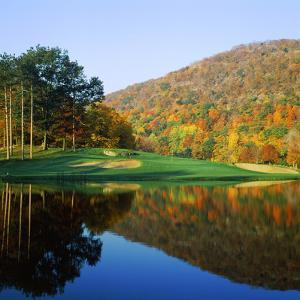 Reflection of a Hill on Water, West Point Golf Course, West Point, New York State, USA