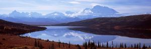 Reflection of a Mountain Range in a Lake, Mt McKinley, Wonder Lake, Denali National Park, Alaska