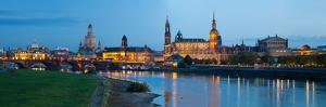 Reflection of Buildings on Water, Dresden Frauenkirche, River Elbe, Dresden, Saxony, Germany