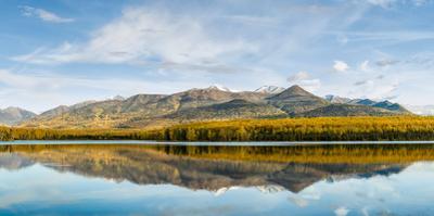 Reflection of Chugach Mountains in Clunie Lake, Eagle River, Alaska, USA