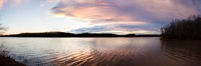 Reflection of clouds in a lake at sunset, Stephen A. Forbes State Recreation Area, Marion County...
