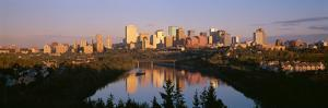 Reflection of Downtown Buildings in Water at Sunrise, North Saskatchewan River, Edmonton