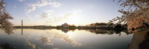 Reflection of Memorials in Water, Jefferson Memorial, Washington Monument, Washington DC, USA